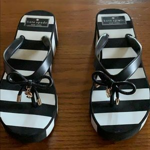 Kate Spade Wedge Flip Flops , Size 6 , Black/white